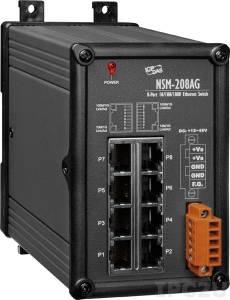 NSM-208AG Промышленный 8-портовый неуправляемый коммутатор 10/100/1000 BaseT(X) Ethernet, питание +12...+48 VDC, металлический корпус, -40...+75С