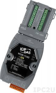 WISE-7118Z/S Web-программируемый контроллер, 16-bit CPU, 512 кб SRAM, 512 Кб Flash, 10 каналов аналогового ввода или сигнала с термопары: J. K. T. E. R. S.B. N. C. L. M, L(DIN)43710 / 6 каналов дискретного вывода, плата DB-1820, PoE, Modbus TCP
