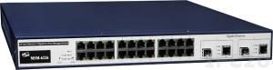 MSM-6226 Промышленный управляемый 26-портовый Layer 2 коммутатор: 24 порта 10/100BaseT, 2 комбо-порта SFP/RJ-45 (1G), питание 100...240В AC