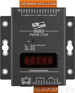 PDSM-752D Программируемый Преобразователь последовательных интерфейсов с 4 портами RS-232 и 1 портом RS-485, LED-дисплей, металлический корпус