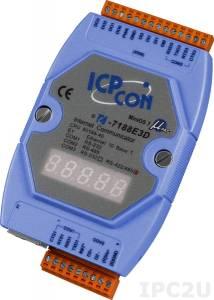 I-7188E3D Программируемый Преобразователь последовательных интерфейсов, 1xRS-232, 1xRS-485, 1xRS-422/485, 4DI, 4DO, 7-сегментный индикатор