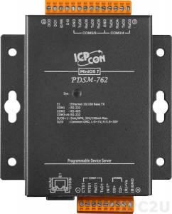 PDSM-762 Программируемый Преобразователь последовательных интерфейсов с 5 портами RS-232, 1 портом RS-485, 1 каналом дискретного ввода и 2 каналами дискретного вывода, металлический корпус