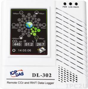 DL-303 Модуль для измерения температуры, влажности и концентрации CO и CO2 с визуализацией и протоколированием данных, RS485, Ethernet, PoE, протоколы DCON, Modbus RTU, Modbus TCP, белый корпус, RoHS