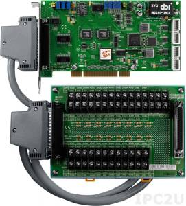 PCI-1602FU/S Многофункциональный адаптер Universal PCI, 32SE/16D каналов АЦП, FIFO, 2 канала ЦАП, 16DI, 16DO, таймер, разъем СА-4002x1, плата клеммников DB-1825