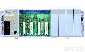 I-8831 PC-совместимый промышленный контроллер 40МГц, 512кб SRAM, 512кб Flash, 2xRS232, 1xRS232/485, Ethernet 10BaseT, 8 слотов расширения, 7-сегментный индикатор, Mini OS7