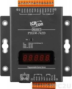 PDSM-742D Программируемый Преобразователь последовательных интерфейсов с 3 портами RS-232 и 1 портом RS-485, LED-дисплей, металлический корпус