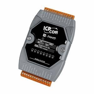 M-7069D Модуль вывода, 8 каналов релейного вывода, c изоляцией до 3750 В, с индикацией, Modbus RTU, DCON