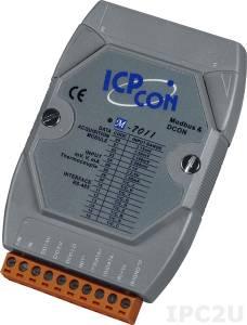 M-7011 Модуль ввода - вывода, 1 канал аналогового ввода или сигнала с термопары: J.K.T.E. R.S. B. N.C / 1 канал дискретного ввода / 2 канала дискретного вывода, Modbus RTU