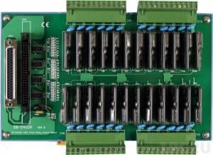DB-24SSR/DIN Выносная плата 24 твердотельных реле(250Vac@4A), совместима с Opto-22, монтаж на DIN-рейку