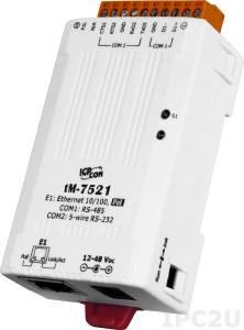 tM-7521 Адресуемый преобразователь RS-485 в один порт RS-232, 1xLAN, PoE, кабель CA-002