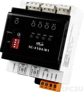 SC-4104-W1 Модуль управления освещением, 1 канал дискретного ввода, 4 канала релейного вывода, встроенный термистор, DCON, Modbus RTU