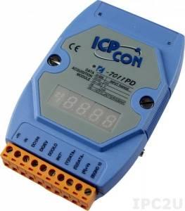 I-7011PD Модуль ввода - вывода, 1 канал аналогового ввода или сигнала с термопары: J. K. T. E. R. S.B. N. C. L. M / 1 канал дискретного ввода / 2 канала дискретного вывода, с индикацией