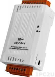 tM-P4A4 Модуль ввода - вывода, 4 канала дискретного ввода / 4 канала дискретного вывода, Modbus RTU/ASCII, DCON