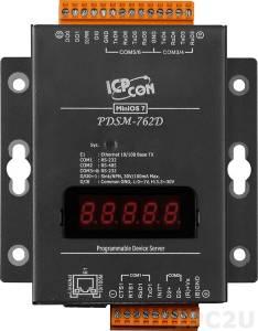 PDSM-762D Программируемый Преобразователь последовательных интерфейсов с 5 портами RS-232, 1 портом RS-485, 1 каналом дискретного ввода и 2 каналами дискретного вывода, LED-дисплей, металлический корпус