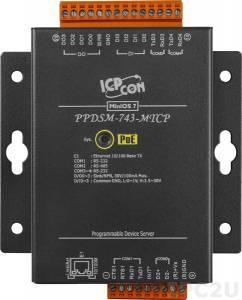 PPDSM-743-MTCP Программируемый Преобразователь последовательных интерфейсов, 3xRS-232, 1xRS-485, Power over Ethernet, Modbus, металлический корпус