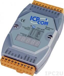 M-7016D Модуль ввода - вывода, 2 канала ввода сигнала с тензодатчика / 1 канал аналогового вывода / 1 канал дискретного ввода / 4 канала дискретного вывода, с индикацией, Modbus RTU