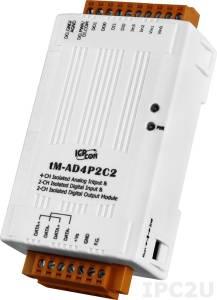 tM-AD4P2C2 Модуль ввода-вывода, 4 канала аналогового ввода, 2 канала дискретного ввода, 2 канала дискретного вывода, Modbus RTU/ASCII, DCON