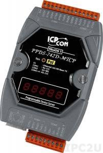 PPDS-742D-MTCP Программируемый Преобразователь последовательных интерфейсов, шлюз Modbus TCP в Modbus RTU/ASCII, 3xRS-232, 1xRS-485, POE, 7 - сегментный индикатор
