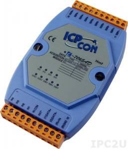 I-7065AD Модуль ввода - вывода, 5 каналов вывода с твердотельного реле / 4 канала дискретного ввода, c изоляцией до 3750 В и индикацией