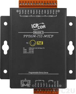 PPDSM-752-MTCP Программируемый Преобразователь последовательных интерфейсов, 4xRS-232, 1xRS-485, Power over Ethernet, Modbus, металлический корпус