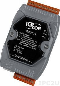 ET-7019 Модуль ввода-вывода, 8 каналов аналогового ввода или сигнала с термопары: J. K. T. E. R. S.B. N. C. L. M, L(DIN)43710 / 4 канала дискретного вывода