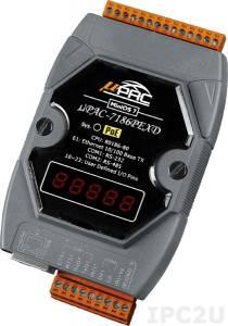 uPAC-7186PEXD Программируемый контроллер с интерфейсами Ethernet, RS-232, RS-485 и с функцией Power over Ethernet, дисплей 5-Digit 7 Segment LED