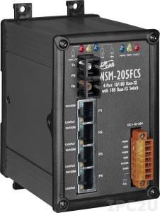 NSM-205FCS Промышленный 5-портовый неуправляемый коммутатор: 4 х 10/100 BaseT(X), 1 х 100BaseFX (одномодовое волокно, разъем SC, до 15 км), металлический корпус, 0...+70С