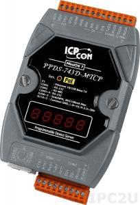 PPDS-743D-MTCP Программируемый Преобразователь последовательных интерфейсов, шлюз Modbus TCP в Modbus RTU/ASCII, 3xRS-232, 1xRS-485, 4xDI/4xDO, POE, 7 - сегментный индикатор