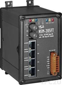 NSM-205FT Промышленный 5-портовый неуправляемый коммутатор: 4 х 10/100 BaseT(X), 1 х 100BaseFX (многомодовое волокно, разъем ST, до 2 км), металлический корпус, 0...+70С