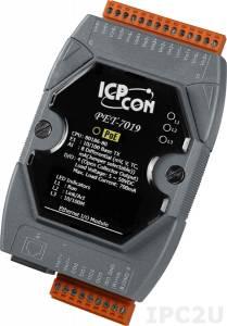 PET-7019 Модуль ввода-вывода, 8 каналов аналогового ввода или сигнала с термопары: J. K. T. E. R. S.B. N. C. L. M, L(DIN)43710 / 4 канала дискретного вывода, PoE