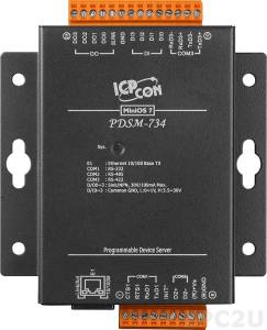 PDSM-734 Программируемый Преобразователь последовательных интерфейсов с 1 портом RS-232, 1 портом RS-485, 1 портом RS-422, 4 каналами дискретного ввода и 4 каналами дискретного вывода, металлический корпус