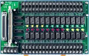 DB-24RD/24/DIN Выносная плата 24 реле (24В) с перекидными контактами(120Vac@0.5A,60Vdc@1A), совместима с Opto-22, разъем DB37, монтаж на DIN-рейку