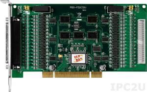 PISO-P32C32U 64-канальный Universal PCI адаптер дискретного ввода-вывода (32DI, 32DO) с гальванической изоляцией, переходник CA-4037x1, разъем CA-4002x2