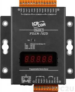PDSM-782D Программируемый Преобразователь последовательных интерфейсов с 7 портами RS-232 и 1 портом RS-485, LED-дисплей, металлический корпус